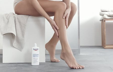 Woman uses care on her legs